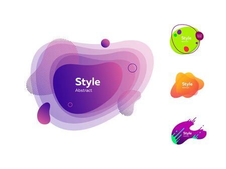 Modern abstract banners set. Multicolored strokes and shapes on white background. Trendy minimal templates for presentations, banners, apps and web pages. Vector illustration