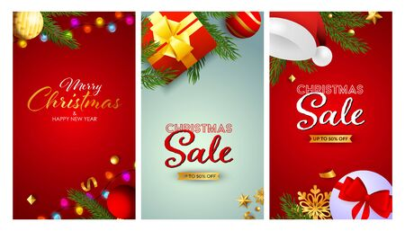 Christmas Sale banner set with Santa hat and string of lights, gift boxes, tree branches. Vector illustration for advertising flyers, poster design, greeting cards Ilustração