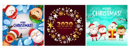Merry Christmas blue, red, cyan banner set with animals. New Year, Christmas, winter. Calligraphy with decorative design can be used for invitations, post cards, announcements