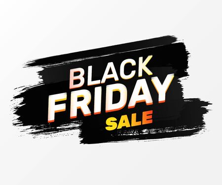 Black Friday announcement banner design. Sale text on black paint stroke. Sale and shopping concept. Vector illustration for advertising flyer, signs, posters