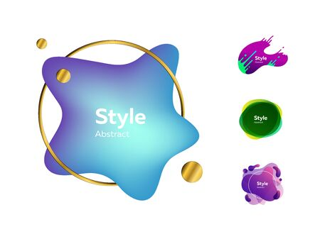 Colorful stain design set. Modern abstract banners with sample text. Trendy minimal templates for presentations, flyers, apps and websites. Vector illustration