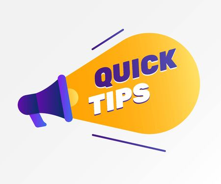Quick tips poster design with loudspeaker. Text on lightbulb or searchlight. Innovation or idea concept. Vector illustration for flyers, banners, websites