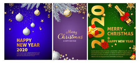 Christmas and New Year posters set with confetti and Champagne, baubles, tree, gift box. Vector illustration for greeting cards, party invitation, banner design