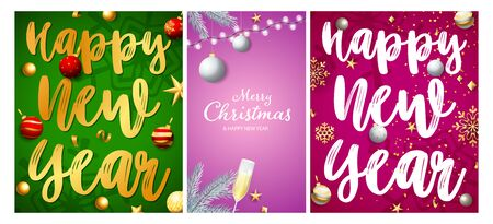 Christmas and New Year posters set with confetti, baubles, snowflakes, flute of wine. Vector illustration for greeting cards, party invitation, banner design