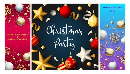 Christmas party flyers set with gold and silver confetti, balls, snowflakes, stars. Vector illustration for festive poster, greeting card, banner design