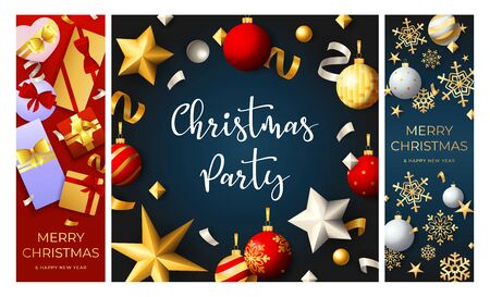 Christmas party flyers set with baubles, streamer, confetti, gifts, golden snowflakes. Vector illustration for festive poster, greeting card, banner design Ilustração