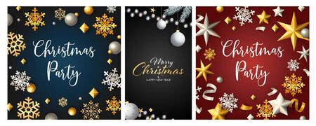 Christmas party poster set with confetti, streamer, gold and silver snowflakes, baubles. Vector illustration for announcement flyers, greeting cards, banner design