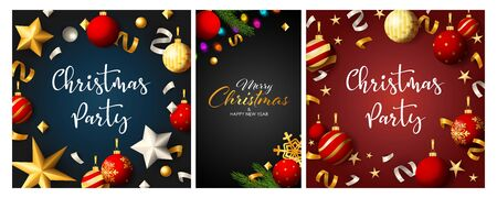 Christmas party poster set with hanging baubles, streamer, confetti. Vector illustration for announcement flyers, greeting cards, banner design