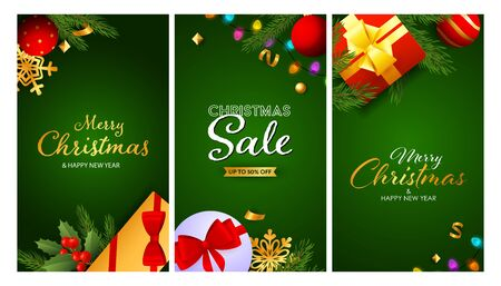 Christmas Sale banner set with gifts, baubles, tree branches, string of lights. Vector illustration for advertising flyers, poster design, greeting cards