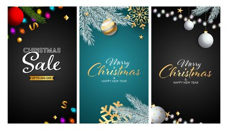 Christmas Sale banner set with hanging baubles, fairy lights, tree branches, snowflakes. Vector illustration for advertising flyers, poster design, greeting cards
