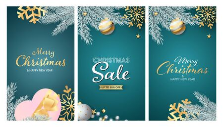 Christmas Sale banner set with tree branches, snowflakes, gift, hanging bauble. Vector illustration for advertising flyers, poster design, greeting cards