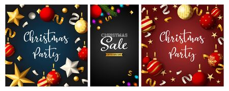 Christmas Sale poster set with confetti, streamer, red and gold baubles, fairy lights. Vector illustration for advertising flyers, party invitation, banner design Ilustração