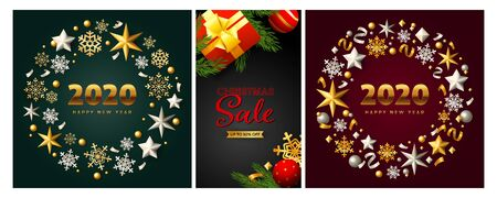 Christmas Sale poster set with gift box, tree, New Year circles of baubles snowflakes, confetti. Vector illustration for advertising flyers, party invitation, banner design
