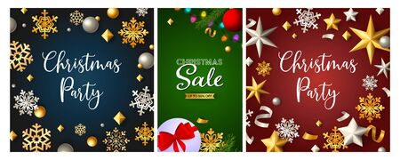 Christmas Sale poster set with streamer, confetti, gift, gold and silver snowflakes. Vector illustration for advertising flyers, party invitation, banner design Ilustração