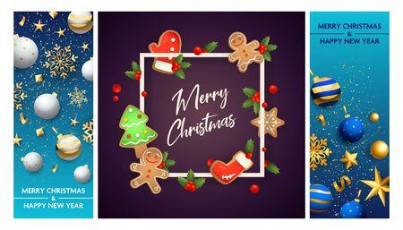 Merry Christmas postcard set with mistletoe, gingerbread cookies, frame, confetti, ornament. Vector illustration for festive posters, greeting cards, vertical banner design Ilustração