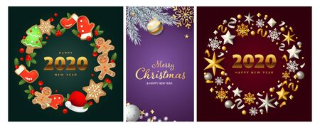 New Year and Christmas posters set with gingerbread cookies, tree decoration, confetti, streamer, snowflakes. Vector illustration for greeting cards, party invitation, banner design