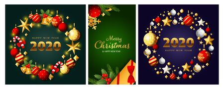 New Year and Christmas posters set with wreathes, sparkles, gift box, sparkles, ornament. Vector illustration for greeting cards, party invitation, banner design