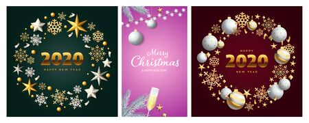New Year and Christmas posters set with silver baubles, gold snowflakes, wreathes, flute of champagne. Vector illustration for greeting cards, party invitation, banner design Ilustração