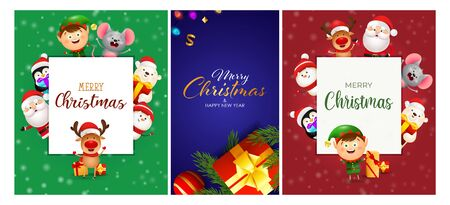 Christmas postcard set with cartoon characters, gift box, tree branches. Vector illustration for festive posters, greeting cards, banner design