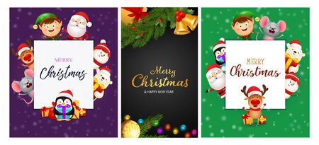 Christmas postcard set with cute cartoon characters and baubles, tree branches. Vector illustration for festive posters, greeting cards, banner design