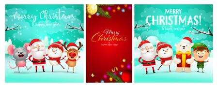 Christmas postcard set with cute cartoon characters, tree decoration, fairy lights. Vector illustration for festive posters, greeting cards, banner design
