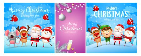 Christmas postcard set with cute characters, flute of champagne, baubles, tree. Vector illustration for festive posters, greeting cards, banner design Ilustração