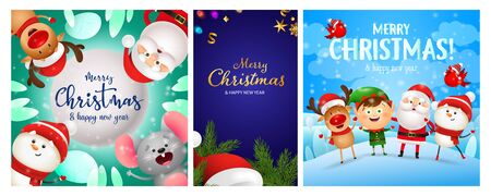 Christmas postcard set with funny cartoon characters, fir tree branches, Santa Claus hat. Vector illustration for festive posters, greeting cards, banner design