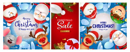 Christmas Sale poster set with Santa hat, tree, funny cartoon characters. Vector illustration for advertising flyers, banner design
