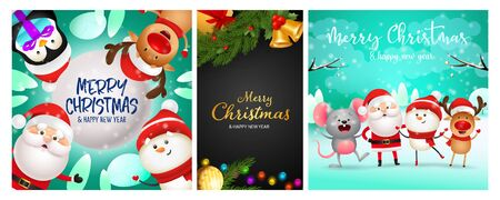 Merry Christmas postcard set with bells, fairy lights, fir tree branches, funny cartoon characters. Vector illustration for festive posters, greeting cards, banner design Ilustração
