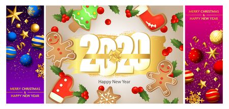 New Year postcard set with gingerbread cookies, mistletoe, bow, baubles, balls, gold confetti. Vector illustration for festive posters, greeting cards, vertical banner design Ilustração