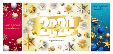 New Year postcard set with gold and silver snowflakes, ribbon, confetti, baubles, balls. Vector illustration for festive posters, greeting cards, vertical banner design Ilustração