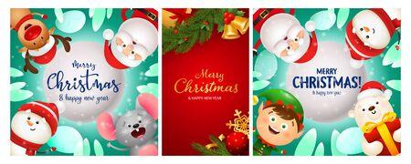 Christmas postcard set with gold bells, baubles, tree, funny cartoon characters. Vector illustration for festive posters, greeting cards, banner design Ilustração