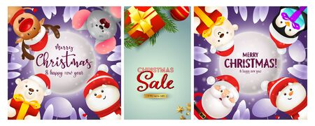 Christmas Sale poster set with cartoon characters, gift box, tree branch. Vector illustration for advertising flyers, New Year banner design Ilustração
