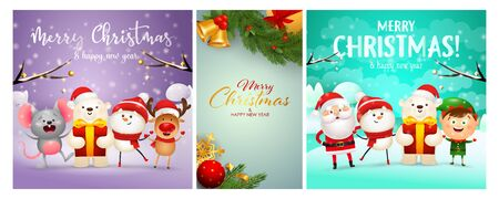 Merry Christmas postcard set with cartoon characters, fir tree branches, baubles, bells. Vector illustration for festive posters, greeting cards, banner design
