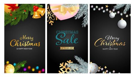 Christmas Sale banner set with present box, tree decoration, bells, fairy lights. Vector illustration for advertising flyers, poster design, greeting cards