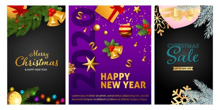 New Year and Christmas Sale flyers set with confetti, bells, gift box, tree decoration. Vector illustration for advertising posters, party invitation, banner design Ilustração