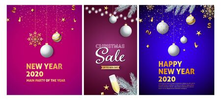 New Year and Christmas Sale flyers set with hanging baubles, tree branches, confetti, flute of wine. Vector illustration for advertising posters, party invitation, banner design