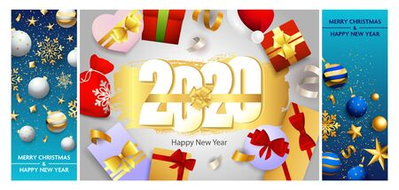 New Year postcard set with gifts, gold ribbon, baubles, confetti, gold snowflakes. Vector illustration for festive posters, greeting cards, vertical banner design