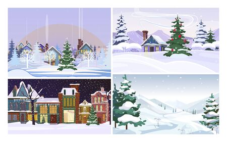 Christmas country flat vector illustration set. Country houses in winter, fur trees, snowy hills. Christmas and nature concept