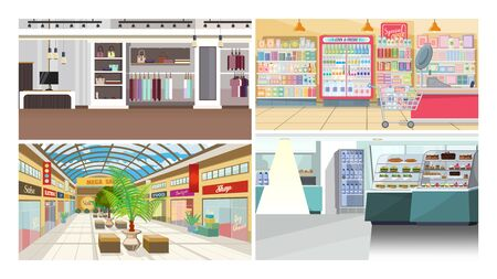 Geschäfte und Cafés flachbild Vector Illustration Set. Einkaufszentrum, Lebensmittelgeschäft, Bekleidungsgeschäft. Shopping-Konzept Vektorgrafik