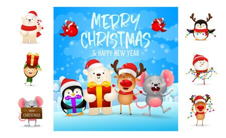 Merry Christmas and happy New Year beautiful banner. Text with decorations can be used for invitation and greeting card. New Year concept