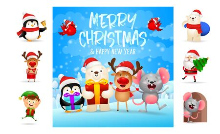 Merry Christmas and happy New Year beautiful card. Text with decorations can be used for invitation and greeting card. New Year concept
