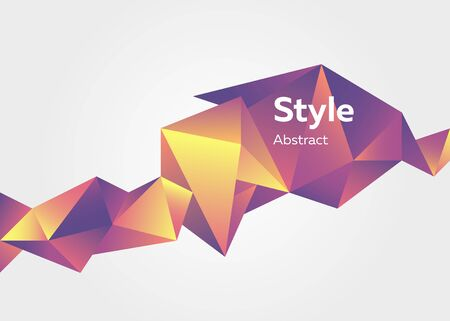 Abstract geometric horizontal element. Faceted crystal shape, colorful polygon, origami style, text sample. Trendy design for posters, banners Иллюстрация