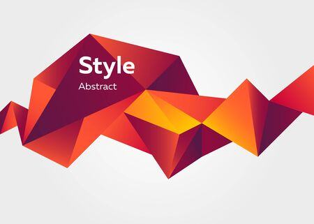 Red abstract crystal shape. Faceted geometric element, colorful polygon, origami style, text sample. Trendy design for posters, banners