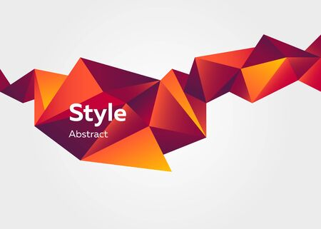 Red abstract geometric element. Faceted crystal shape, colorful polygon, origami style, text sample. Trendy design for posters, flyers, banners