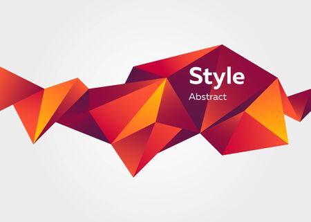 Red abstract origami element. Faceted crystal shape, colorful polygon, text sample. Trendy design for posters,  banners