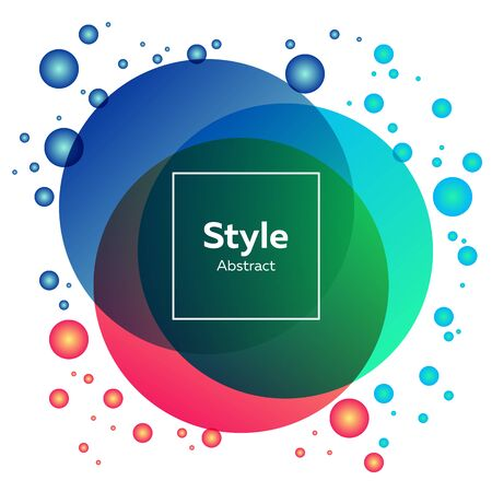 Cyan, blue, pink bright abstract circles. Regular geometric figures, abstract transparent elements, text sample in frame. Trendy design for posters,  banners Иллюстрация