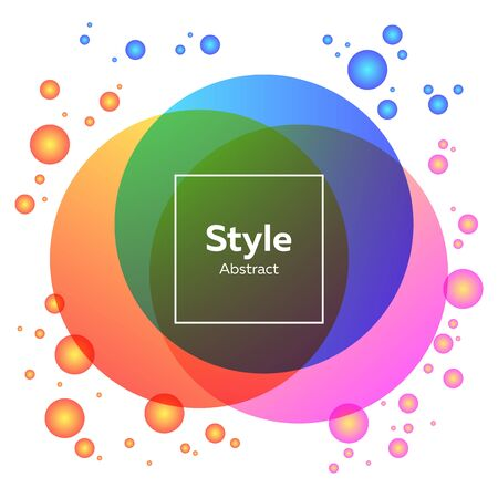 Orange, pink, blue bright abstract circles. Regular geometric figures, abstract transparent elements, text sample in frame. Trendy design for posters, banners Иллюстрация