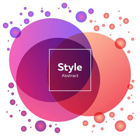 Pink, purple, orange bright abstract circles. Regular geometric figures, abstract transparent elements, text sample in frame. Trendy design for poster, banners Иллюстрация