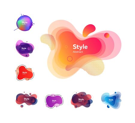 Modern fluid gradient elements. Dynamical colored forms and line. Gradient banners with flowing liquid shapes. Template for design of logo or presentation.
